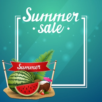 Summer sale, green template for your arts with frame and place for text