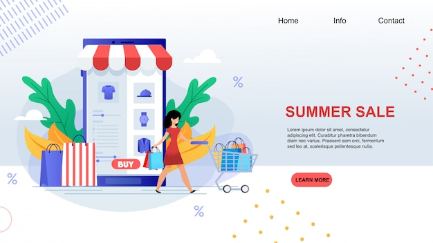 Summer sale happy cartoon woman with shopping cart buy clothes
