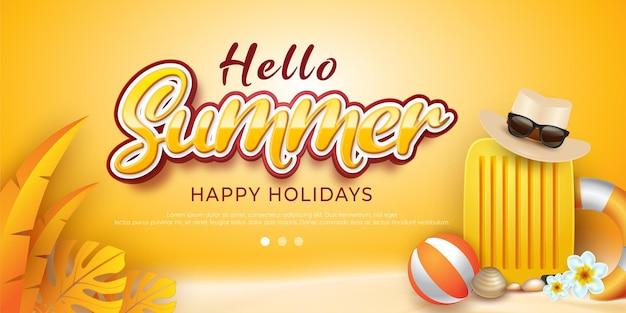 Summer sale happy holiday banner Premium Vector
