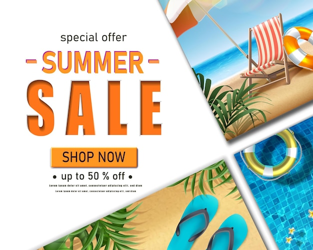 여름 해변 요소 태양 침대 우산 및 아파트 여름 판매 가로 배너 서식 파일