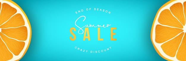 Summer sale horizontal banner with orange fruit cutaway