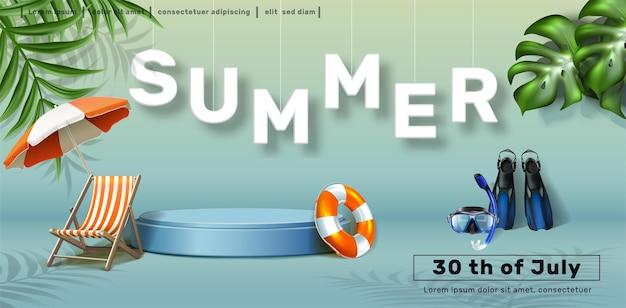 Летняя распродажа горизонтальный баннер с элементами летнего пляжа, зонтик от солнца и маска для дайвинга