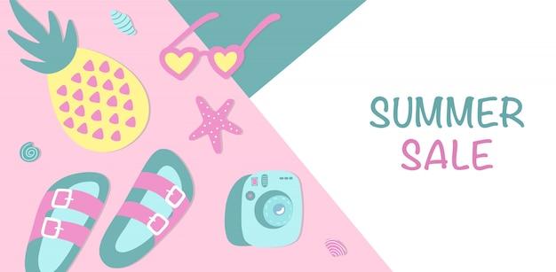 Summer sale horizontal banner.