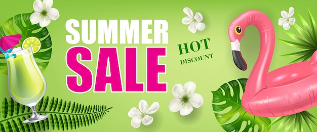 Summer sale hot discount banner with palm leaves and flowers, cold drink and toy flamingo