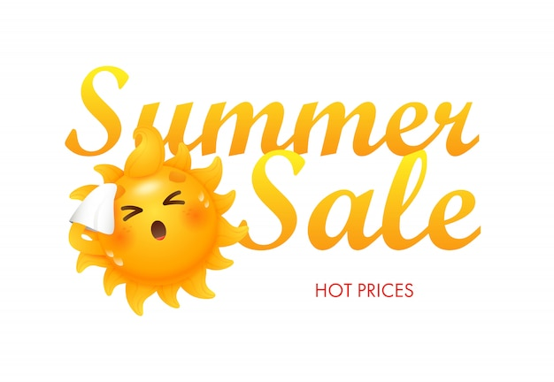 Summer sale, hot prices lettering with sun cartoon character