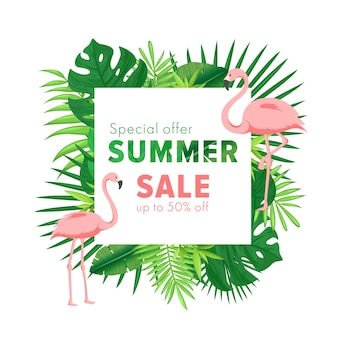 정글 야자 나무 열대 잎과 플라밍고 여름 판매 그림 만화 배너
