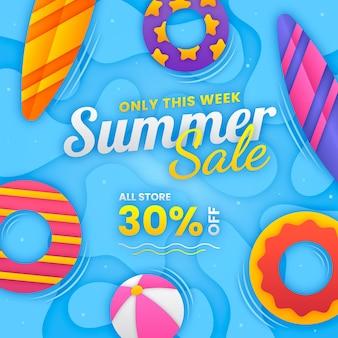 종이 스타일의 여름 판매 그림
