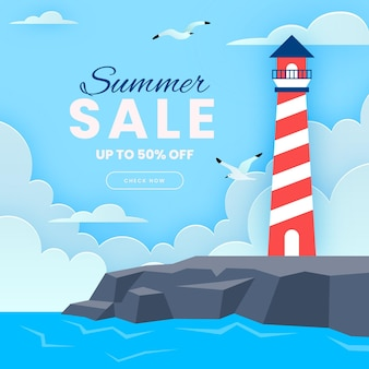 Summer sale illustration in paper style