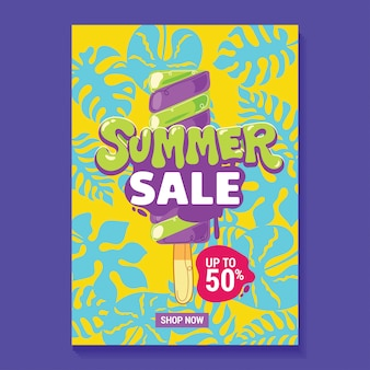 Summer sale illustration poster with popsicle, beach and tropical leaves background