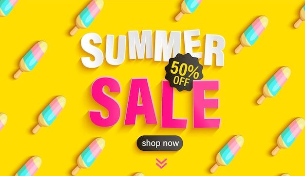 Summer sale illustration with ice cream pattern
