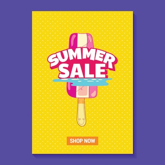 아이스 캔디, 해변과 열대 잎 배경 여름 판매 그림