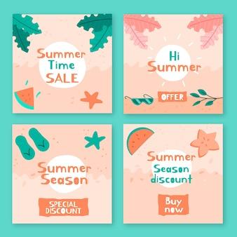 여름 세일 인스 타 그램 포스트 컬렉션
