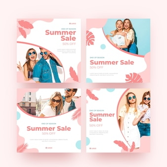 Coppie ed amici della posta del instagram di vendita di estate all'aperto