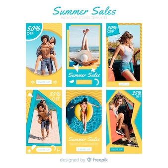 Summer sale instagram stories template pack