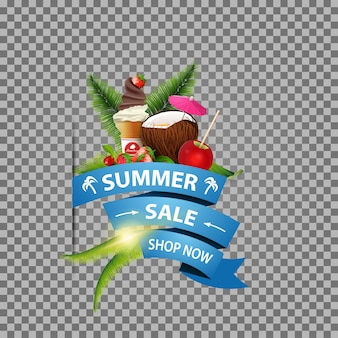Summer sale, isolated web banner with ribbon, coconut cocktail and fruits