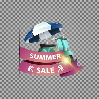 Summer sale, isolated web banner with ribbon and scooter