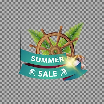 Summer sale, isolated web banner with ribbon, steering wheel of the ship in the sand