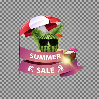 Summer sale, isolated web banner with ribbon and watermelon in glasses