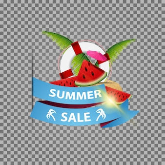 Summer sale, isolated web banner with ribbon, watermelon slices