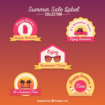 Collezione di etichette di vendita estate con elementi di spiaggia