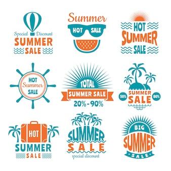Summer sale labels or logo set
