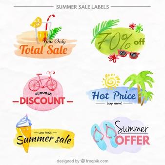 Summer sale labels set in watercolor effect