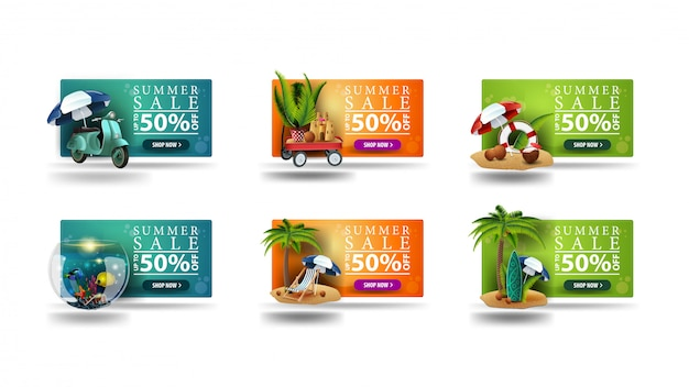 Летняя распродажа, большой набор горизонтальных баннеров скидка 3d для вашего бизнеса с летними иконами.
