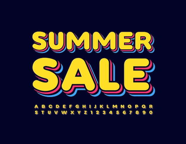 Summer sale layered creative font trendy 3d alphabet letters and numbers set
