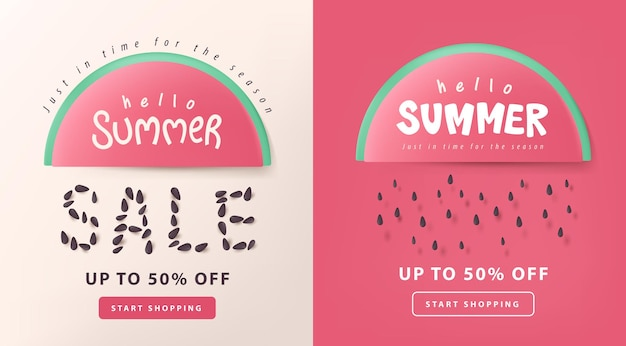 Summer sale layout poster banner   with watermelon concept