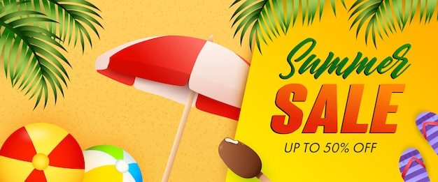 Summer sale lettering, beach balls, umbrella and ice-cream