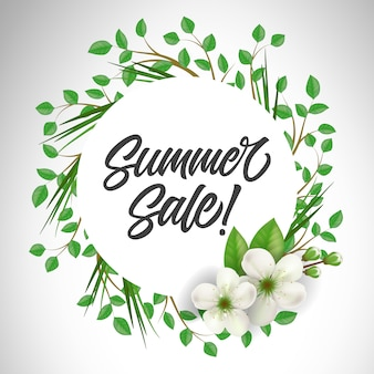 Summer sale lettering in circle with twigs and flowers. offer or sale advertising