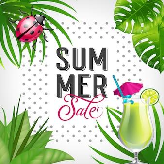 Lettering vendita estivi. iscrizione creativa con cocktail tropicale calce e coccinella.