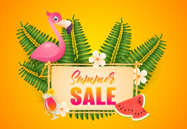 Summer sale lettering, flamingo, cocktail and watermelon