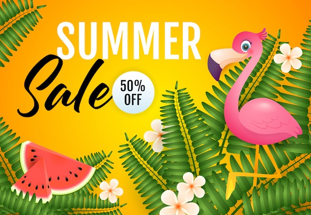 Летняя распродажа надписи, фламинго, арбузы и растения