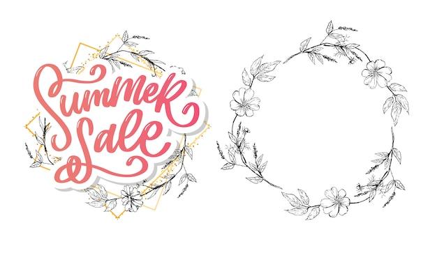 Summer sale lettering and floral frame set