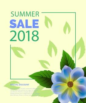 Saldi estivi lettering in cornice con fiore blu. offerta estiva o pubblicità pubblicitaria