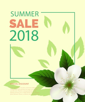 Saldi estivi lettering in cornice con fiore bianco. offerta estiva o pubblicità pubblicitaria