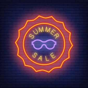 Summer sale lettering in neon style. illustration with glowing text in sun shape