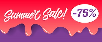 Summer sale lettering on red dripping paint. Summer offer or sale advertising
