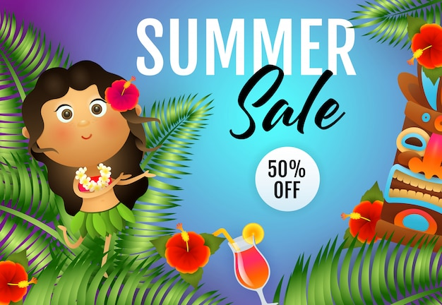Summer sale lettering with aborigine woman and tiki mask