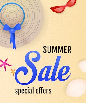 Summer sale lettering with beach, seashells, hat and sunglasses