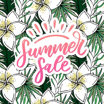 Summer sale lettering with flowers and leaves