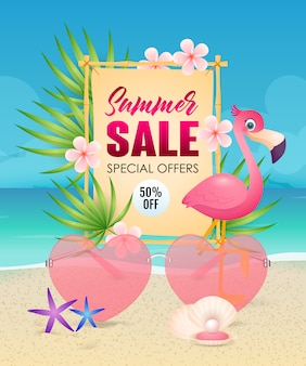 Summer sale lettering with heart shaped sunglasses and flamingo