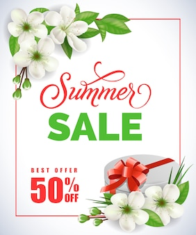 Summer sale lettering with in frame with apple flowers and gift box on white background