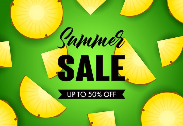Summer sale lettering with pineapple slices
