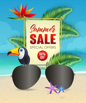 Summer sale lettering with sunglasses and toucan