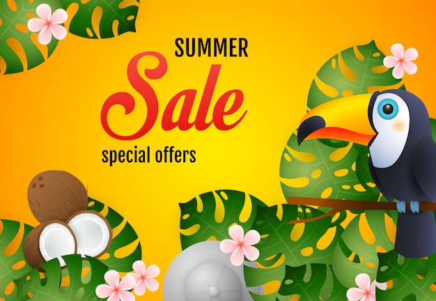 Summer sale lettering with tropical plants, toucan and coconut