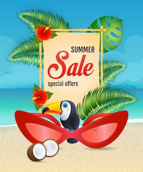 Summer sale lettering with woman sunglasses and toucan