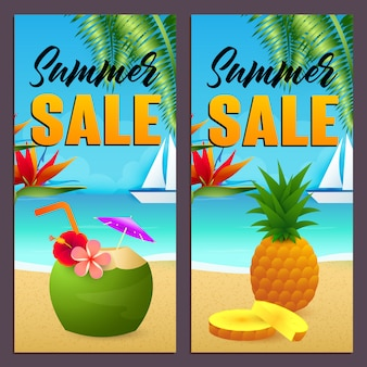 Summer sale letterings set, coconut drink and pineapple on beach