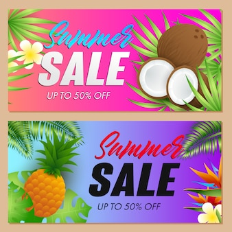 Летняя распродажа надписи набор, кокосы и ананас